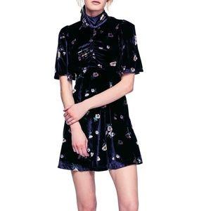 Free People 90's Retro Velvet Floral Print Dress
